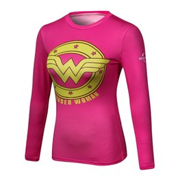 Wholesale Tight Ladies T Shirt - Marvel Women Bodys Lady Long sleeve T-shirt Girls Compression T Shirt Female Fitness Tights Tee Shirt Femme Tops wholesale