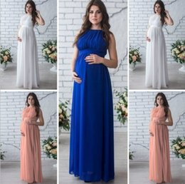 Wholesale Pregnancy Props - Casual Sleeveless Off Shoulder Maternity Photography Props High Waist Pleatedd Bandage Maxi Loose Maternity Pregnancy Dress