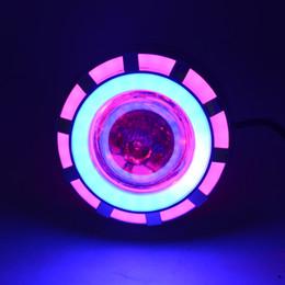 rosa led-scheinwerfer Rabatt Motorrad Projektor Scheinwerfer Doppel Angel Devil Eye Led Fahrlicht Mit Rosa und Blau 30 Watt 1200Lm 200000H (Rosa und Blau)