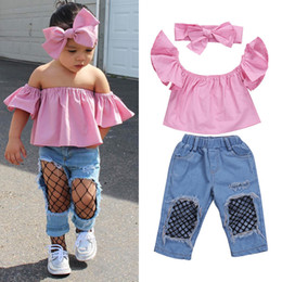top selling kids clothes Australia - 2017 Hot Selling 3Pcs Baby Girl Clothing Set Kids Bebes Girls Toddler Off Shoulder Tops Denim Fishnet Pants Outfits Set Clothes Y1892605