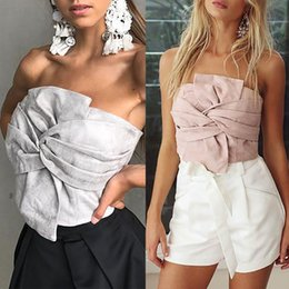 Wholesale Loose Crop Tank Top Wholesale - Neweat style Women Party Women Top Loose Sleeveless Tank Suede Top Strapless Crop S M L