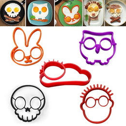 Wholesale sun moulds - 5pcs  Lot Non -Stick Silicone Egg Molds Owl Rabbit Skull Boy Sun Shapes Pancake Rings Fried Eggs Omelette Mould Cooking Tools