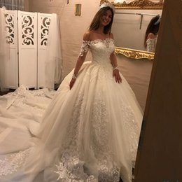 Wholesale Sexy Cheap Black Ball Gowns - 2018 Generous Ball Gown Lace Wedding Dresses Off the Shouder Sheer Long Sleeves robe de mariage Wedding gowns Cheap