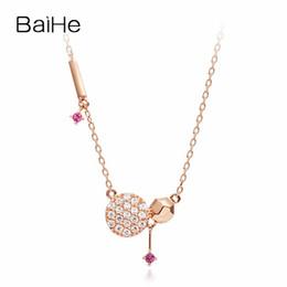 colar de ouro diamante genuíno Desconto BAIHE Sólido 18 K Rose Gold 0.17ct Certificado 100% Genuine Diamantes Naturais Rubys Engagement Moda Jóias Colares Elegantes