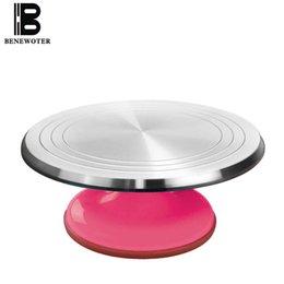Wholesale cake platform - 31cm Aluminum Alloy Baking Tools Cake Decorating Base Turntable Platform Round Rotating Revolving Cakes Stand Swivel Plate
