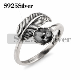 Wholesale diy jewelry feathers - 5 Pieces Vintage Design Feather Ring Findings 925 Sterling Silver DIY Jewelry Making Ring Blank Base