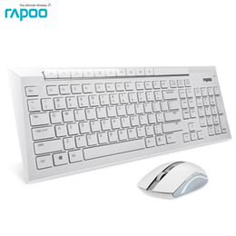 Wholesale Mouse Rapoo - Rapoo 8200P Silent Slim Waterproof Multimedia Wireless Keyboard and Mouse 2-in-1 Combo kit for Laptops Desktops PC - white