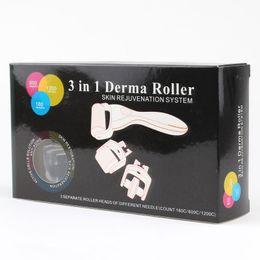 Micro derma körperwalzen online-3 in 1 Derma Roller Hautverjüngung System Micro Nadelwalze 180C 600C 1200C Nadeln Gesicht Körper Haut DermaRoller