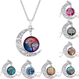 Wholesale jewelry glass cabochons - Tree of life Necklace Glass 8 Colors Hollow Carved Moon Shaped Cabochons Moonstone Charm Chokers Pendant Necklace Trendy Jewelry