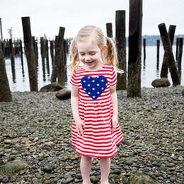 petali di fiori di autunno Sconti Mikrdoo Kids Baby Girl Summer Fashion Abiti senza maniche a strisce USA Flag Dress a forma di cuore stampa vestiti di cotone