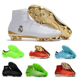 Wholesale Cristiano Ronaldo Boots - 2017 New CR7 Kids Soccer Shoes Red Gold Mercurial Unisex Superfly V Soccer Cleats Cristiano Ronaldo Men Children football boots Magista Obra