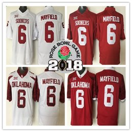 7cc9f1889 Hot Sale Oklahoma Sooners  6 Baker Mayfield Red White Limited 2018 Rose Bowl  Patch Stitched Championship NCAA College Football Jersey