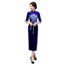 Discount velvet qipao - Blue Women Floral Elegant Cheongsam Slim Mandarin Collar Qipao Velvet Embroidery Oversized Chinese Classic Evening Dress 3XL 4XL