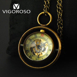женские часы с механическим скелетом Скидка Unique Ball Glass Skeleton Mechanical Pocket Watch Wind Up Steampunk Retro Women Ladies Necklace Pendant Gifts Vintage Clock