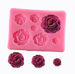 moldes de silicona rosa flor Rebajas Práctico Rose Flower Silicone Fondant Molde Herramientas de decoración de pasteles Moldes de caramelo de chocolate para hornear Accesorios Envío gratis