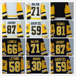 2018 Women Jersey 87 Crosby 66 Mario Lemieux 59 Guentzel 71 Malkin 30  Murray 58 Letang 81 Kessel Blank Black White Hockey Jerseys 56c125866