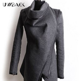 Wholesale Elegant Winter Coats For Women - Uwback Women Woolen Coat Irregular Collar Overcoat for Women Elegant Trench Coat Brand 2017 Autumn Winter Femme Zip ,EB205