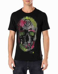 Wholesale Leather Men Shirt - Mens Cotton jersey t shirts iconic skull crystals stones fluo colors T-Shirts Germany leather patch Logo Short Sleeve SS GOTTA FEELING Tee