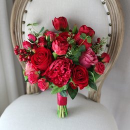 Wholesale Tulip Christmas Bouquet - New Cheap Red Artificial Wedding Bouquets 2018 Hand Made Rose Bacca Peony Tulip Wedding Decoration Artificial Bridal Holding Brooch Bouquets