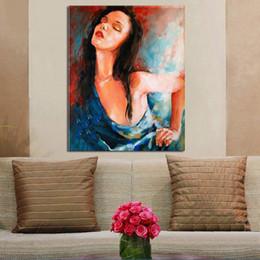 2019 portraits bleus Main-peinture portrait peinture à l'huile sur toile bleu dame mur art décor pour décoration de la maison cadeau peinture art promotion portraits bleus