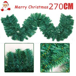 Wholesale Xmas Wreaths Wholesale - 2.7m Home Pine Christmas Garland Fireplace Wreath Xmas Decor 160 Heads Popular