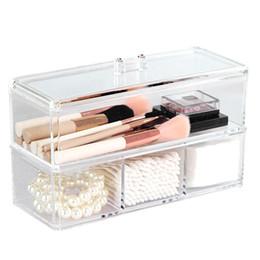 Wholesale Wholesale Plastic Drawer Organizers - Portable Transparent Makeup Organizer Storage Box Acrylic Make Up Organizer Cosmetic Makeup Storage Drawers