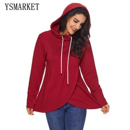 plus size long sleeve crop tops 2018 - Plus Size Asymmetric Hem Winter Autumn Women Hoodies Warm Hooded Sweatshirt Long Sleeve Casual Loose Pullover Coat Crop Top XXL E250535