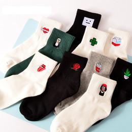 Wholesale Funny Heart Cartoons - Korean Harajuku Funny Cartoon Black White Short Sock Novelty Women Milk Box Beard Rose Heart Radio Embroidery Cotton Ankle Socks