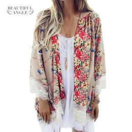Wholesale White Elegant Cardigans - 2017 Fashion Floral Chiffon Kimono Women Cardigan Elegant Lace Women Flower Print Chiffon Blouse Shirt Loose Kimono jacket