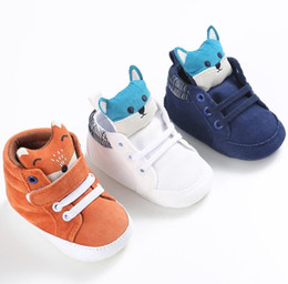 Wholesale First Head - high quality Autumn Baby Shoes cute newborn Boy Girl Fox Head Lace Cotton Cloth First Walker Anti-slip Soft Sole Toddler Sneaker free ship