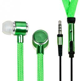 Wholesale Shoelace Earphones - Universal 3.5mm Shoelace In-Ear Earphone Stereo Earphones With Mic Super Bass Metal Headset Stereo Earbuds Sport