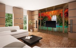 Wholesale Country Wooden - 3d large wall mural wallpaper HD Wooden frame Red Maple Falls extending space backdrop custom silk photo wallpaper