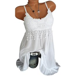 7f368b464dd New Women Sleeveless Blouse Summer Sexy Lady Lace Vest Tank Shirt 7 Colors  Spaghetti Strap Lace blouse Tops