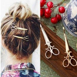 hair african american women Promo Codes - 50PC HOT Nice Women Lady Girls Scissors Shape Hair Clip Barrettes Hairpin Hair Decorations Accessories Pretty Hair Clips