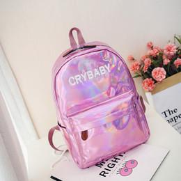 Wholesale laser locks - 2018 summer new fashion designer backpack specular gloss Laser bags school bagpack big capacity hot sale