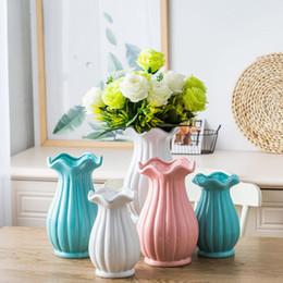 Wholesale 16 vases - 16*16*25cm Ceramic Flower Vase Lovely Jardiniere Home Decoration Ceramic Vases Lacework Flower Holder