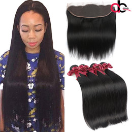 Wholesale Human Ears - 9A Mink Brazilian Straight Hair Bundles With 13x4 Lace Frontal With Hair Bundles Remy Human Hair with Ear to Ear Lace Frontal Closure