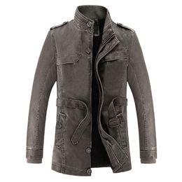 Wholesale Mens Leather Parka Coats - Wholesale-2017 Winter Leather Jacket Men Slim Warm Mens washed Leather Motorcycle Biker Jackets Standing Collar Coat Outdoors parka