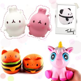 Wholesale panda rabbit - 2018 New Hot Squishies Decompression Toy Doll Squishy Panda Pony Cat Hamburger Rabbit Toys for christmas gift cellphone pendant straps
