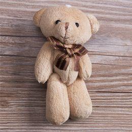 2019 12см плюшевые плюшевые медведи Lovely Plush Scarf Brown Teddy Bear Stuffed Animal Soft Toys 12CM For Bouquet Plush Animals дешево 12см плюшевые плюшевые медведи