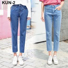 Wholesale women baggy jeans - High waist jeans woman denim harem pants loose baggy boyfriend jeans for women