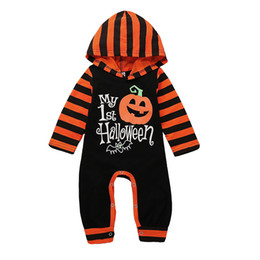 109f7f90331a Halloween Costume Baby girls boys Pumpkin letter print romper children  stripe Long sleeve Hooded Jumpsuits Autumn kids Climbing clothesC5178