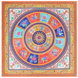 Wholesale Fashion Discs - Large Square Silk Scarf Women's Luxury Brand Hijab Twill Disc Flower Printed Scarves Shawl Foulard Wraps 130*130cm New Arrival