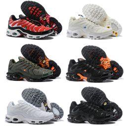hot sales 22291 12793 2018 New Running Chaussures Hommes TN Chaussures TNS Plus Mode Augmentation  de la Ventilation Baskets Décontractées Olive rouge bleu noir Baskets ...