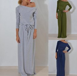 Wholesale Plain Maxi Dresses - Women Boho Long Sleeve Maxi Dress Ladies Plain Solid Summer Beach Party Evening Belt Dress Sundress OOA4037