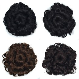 flower hairpieces Coupons - Sara Lady Women Flower Blooms Curly Chignon Clip in Hair Updo Adjustable Pull Rope Hair Bun Chignon Realistic Hairpiece 90g