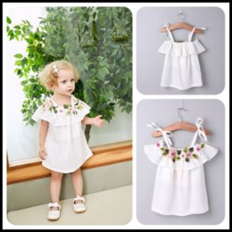 Wholesale Kids Birthday Clothes - Mikrdoo 2018 Summer Baby Girl Floral Dress Kids Sleeveless Dresses Birthday Formal Wedding Party Wear Clothes