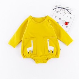 Wholesale alpaca baby - 2018 INS 2 color Hot selling Baby kids new style Cartoons alpaca printed cotton long sleeve romper kids spring new style