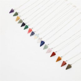 sell statement necklaces Promo Codes - Hot Selling Fashion Natural Stone Multi Color Pyramid Quartz Pendants Necklaces Chain Pendant Women Statement Necklace Jewelry