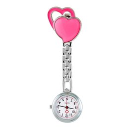 Wholesale Clock Nurse - Pocket Medical Nurse Fob Watch Women Dress Watches 7 Colors Clip-on Pendant Hanging Quartz Clock Heart Shape Relogio De Bolso